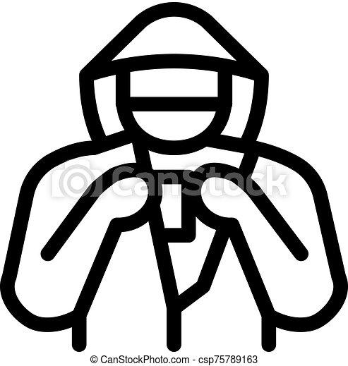 vecteur, marchandises, contour, voleur étalage, illustration, icône - csp75789163