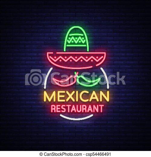 vecteur, mexicain, projects., restaurant, signe, signe., néon, illustration, symbole, nightly, clair, annonce, conception, gabarit, bannière, lumineux, nourriture., ton, logo, lueur - csp54466491