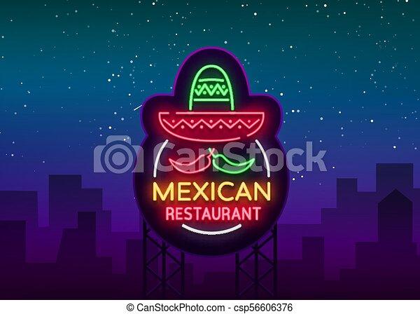 vecteur, mexicain, projects., restaurant, signe, signe., néon, illustration, symbole, nightly, clair, annonce, conception, gabarit, bannière, lumineux, nourriture., ton, logo, lueur - csp56606376