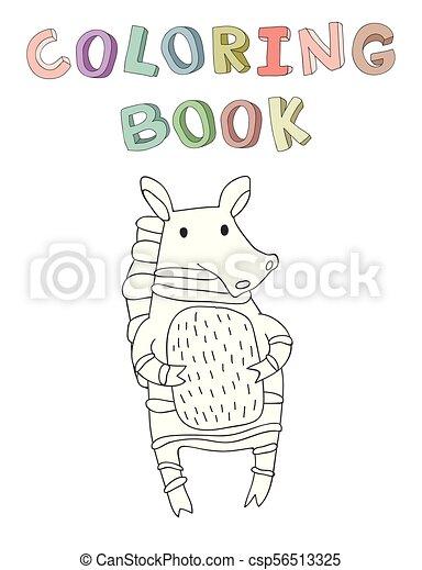 vecteur, mignon, coloration, simple, caractère, illustration, style., livre, zebra, dessin animé, contour - csp56513325