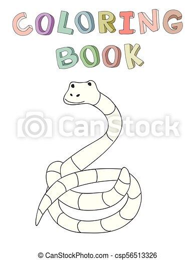 vecteur, mignon, coloration, simple, caractère, illustration, style., livre, serpent, dessin animé, contour - csp56513326