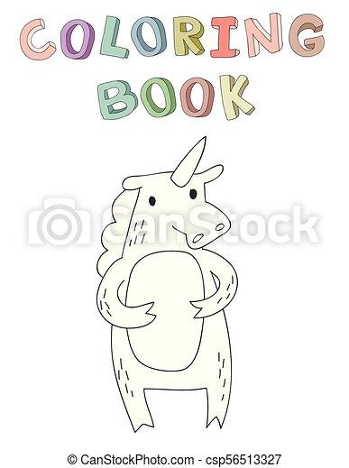 vecteur, mignon, coloration, simple, caractère, illustration, style., livre, licorne, dessin animé, contour - csp56513327