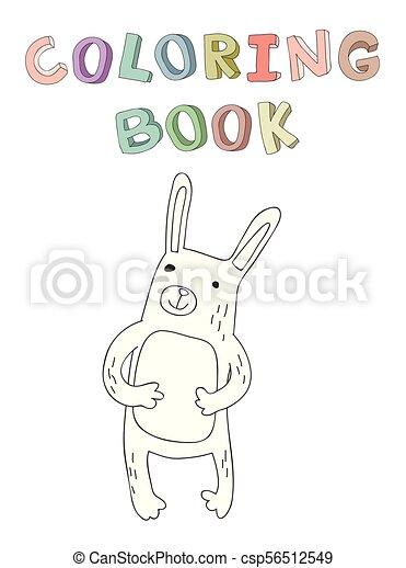vecteur, mignon, coloration, simple, caractère, illustration, style., contour, livre, lapin, dessin animé - csp56512549