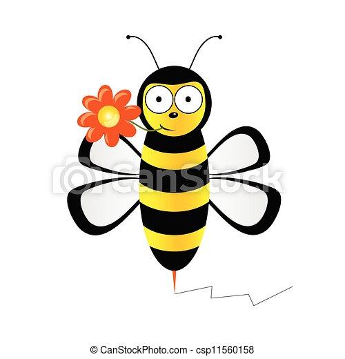 vecteur, mignon, fleur, illustration, abeille - csp11560158