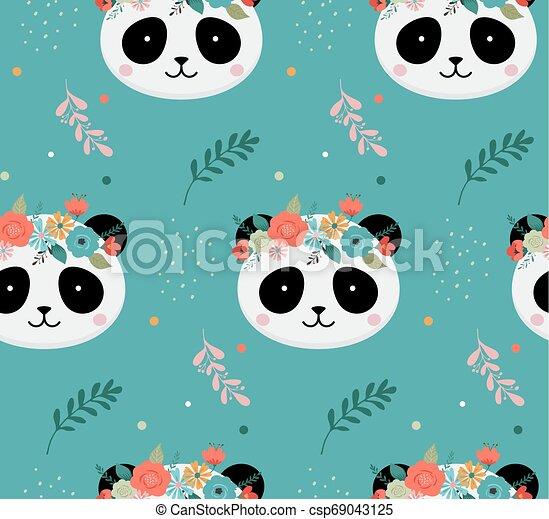 Vecteur Mignon Fleur Tetes Affiche Modele Seamless Salutation Couronne Anniversaire Conception Creche Panda