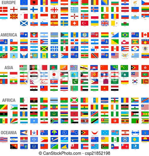 vecteur, mondiale, ensemble, drapeaux, pays - csp21852198