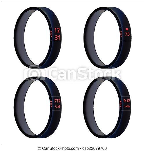 vecteur, noir, wristbands, illustration, intelligent - csp22879760