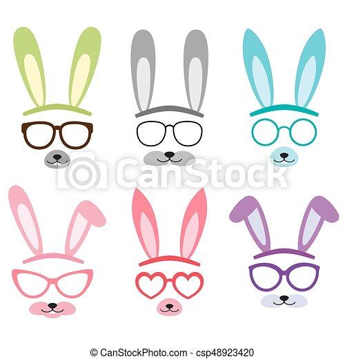 Vecteur oreilles ensemble lapin dessin anim ensemble - Dessin oreille de lapin ...