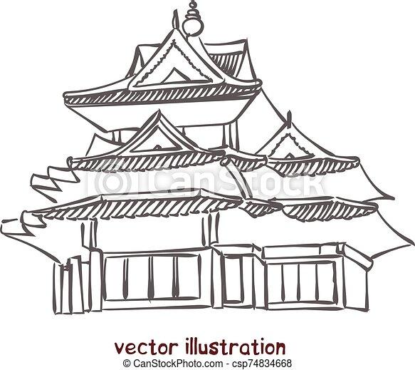 vecteur, pagode, croquis, chinois - csp74834668