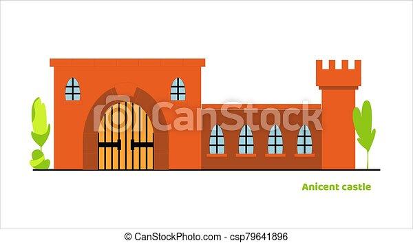 vecteur, palais, élevé, tour, moyen-âge, castle., conte, fée, plat, grand, portail - csp79641896