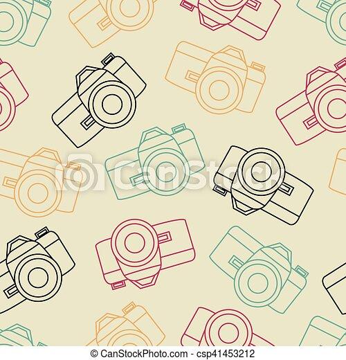 vecteur, photo, seamless, volet, appareil photo, ligne - csp41453212