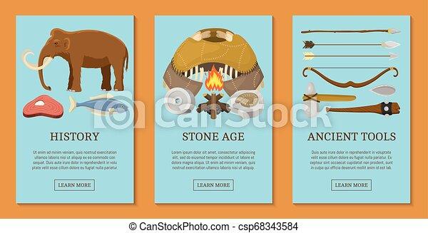 vecteur, pierre, primitif, ensemble, illustration., chasse, neanderthals, sapiens., ménage, préhistorique, equipment., vie, animals., armes, âge, ou, homo, ancien, bannières, outils, cartes - csp68343584