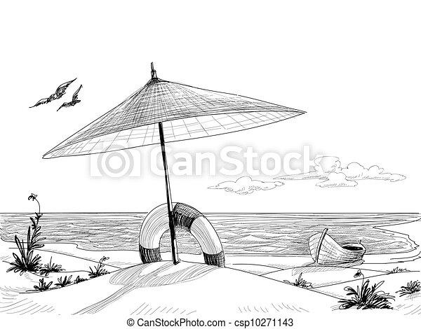 vecteur, plage, fond - csp10271143