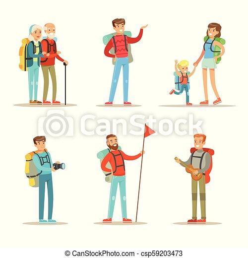 vecteur, plat, femme s, randonnée, gens, hommes, couple., personnes agées, fils, thème, ensemble, trekking, backpacks., heureux - csp59203473
