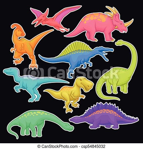 Vecteur Plat Geant Autocollant Colore Jurassique Period Prehistorique Collection Dessin Anime Ou Dinosaure Jeu Livre Conception