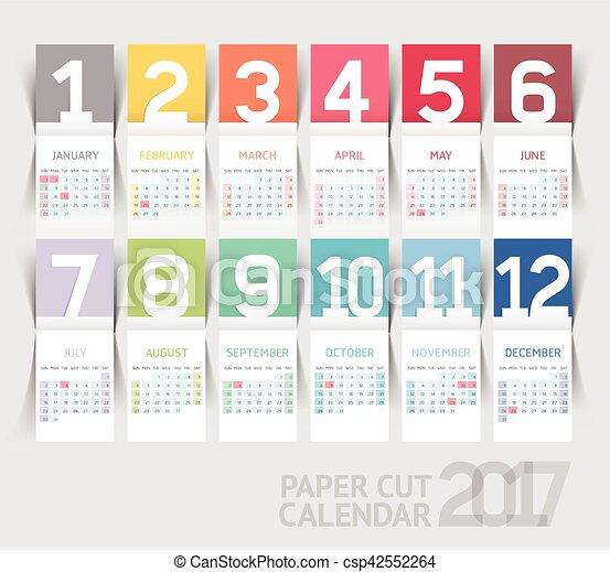 Calendrier Impression.Vecteur Plier Papier Conception Gabarit Impression 2017 Calendrier Style Illustrations