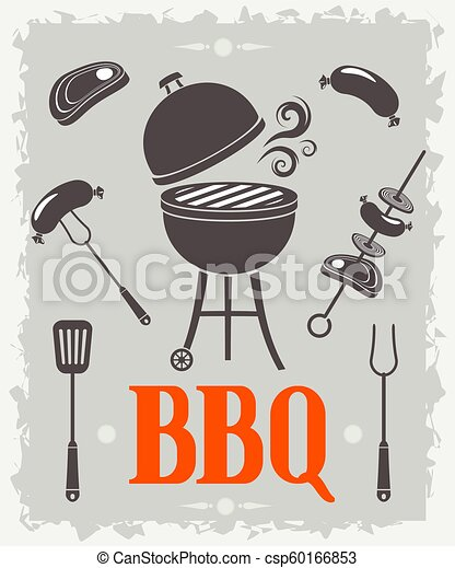 vecteur, poster., barbecue, illustration - csp60166853