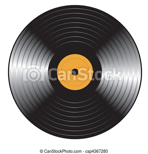 vecteur, record., retro, vinyle - csp4367280