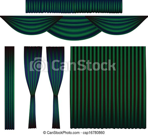 vecteur rideau ensemble vert meraude. Black Bedroom Furniture Sets. Home Design Ideas