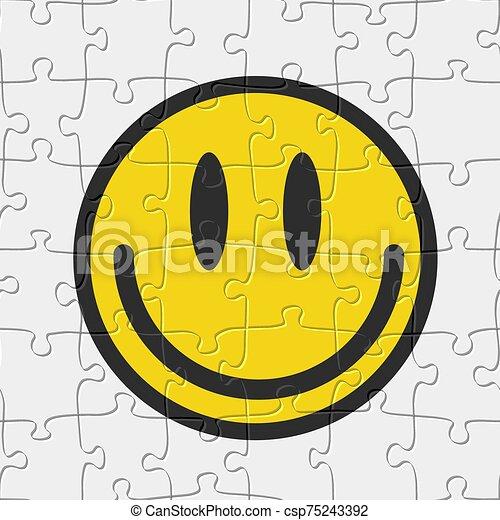 vecteur, seamless, sourire, jeu, emoticon, puzzle, illustration, puzzle, pattern. - csp75243392