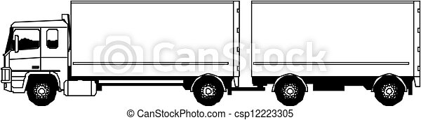vecteur, semi-camion - csp12223305