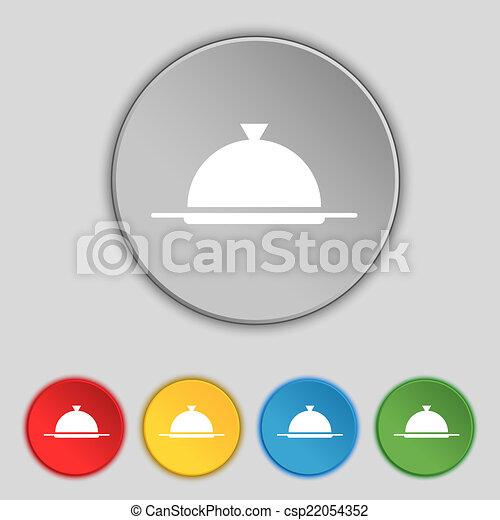 vecteur, servir, ensemble, restaurant, nourriture, symbole., signe, buttons., table, icon., plat, coloré, monture - csp22054352