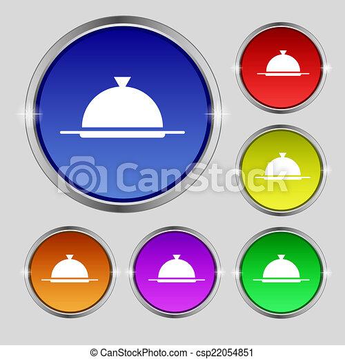 vecteur, servir, ensemble, restaurant, nourriture, symbole., signe, buttons., table, icon., plat, coloré, monture - csp22054851