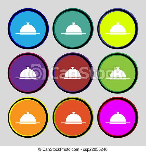 vecteur, servir, ensemble, restaurant, nourriture, symbole., signe, buttons., table, icon., plat, coloré, monture - csp22055248