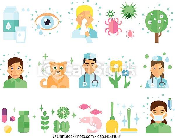 Vecteur, set., illustration, allergie. Allergie ...