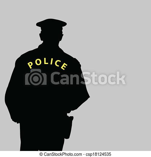 vecteur, silhouette, illustration, policier - csp18124535