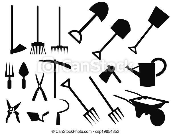 vecteur, silhouette, outils jardinage, ensemble - csp19854352