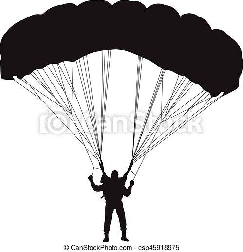 Vecteur silhouette parachutiste - Dessin parachutiste ...