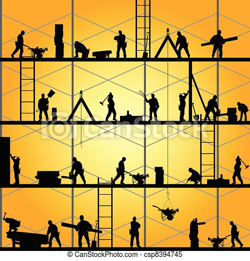 vecteur, silhouette, travail, ouvrier, illustration, construction - csp8394745