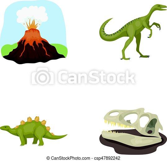Vecteur Skull Style Volcanique Préhistorique Icônes éruption Symbole Gallimimus Web Période Collection Dinosaure Ensemble