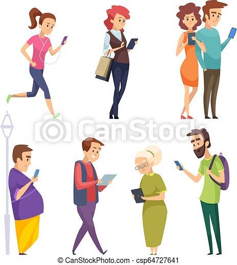 vecteur, smartphones, gosses, gadgets., bavarder, gens, femme, tablettes, caractères, internet, tampon, dessin animé, intelligent, homme - csp64727641