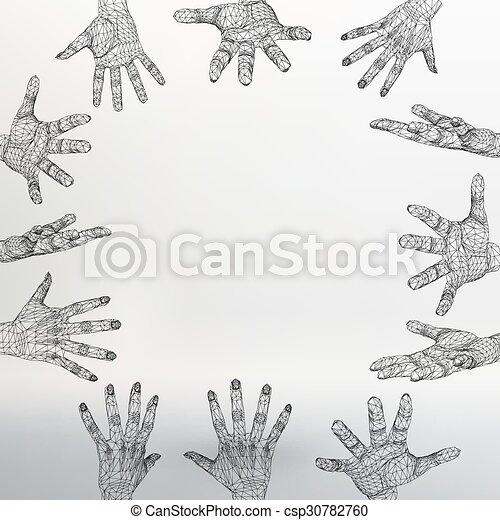 vecteur, style, concept, lattice., fond, résumé, lines., créatif, polygonal, arrière-plan., maille, conception, main, brochure., polygons., grille, moléculaire, en-tête lettre, structural - csp30782760