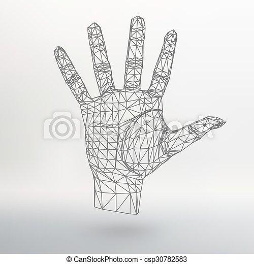 vecteur, style, concept, lattice., fond, résumé, lines., créatif, polygonal, arrière-plan., maille, conception, main, brochure., polygons., grille, moléculaire, en-tête lettre, structural - csp30782583