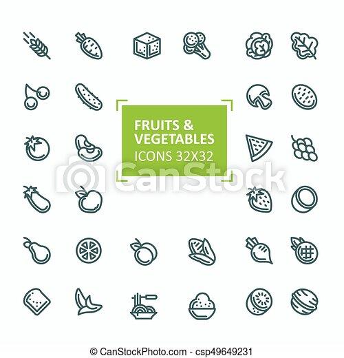 Vecteur Style Ensemble Icônes Légumes Editable Coup Ligne Mince Fruits