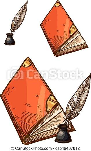 Vecteur Stylos Livres Encre Vieux Plume Penne