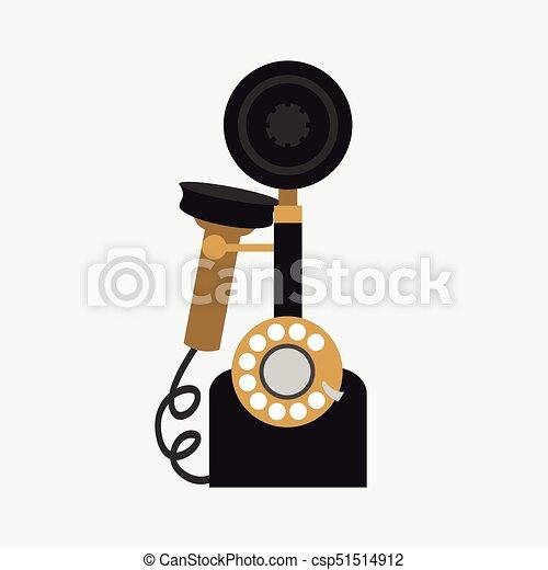 vecteur, téléphone, fond blanc, vendange - csp51514912