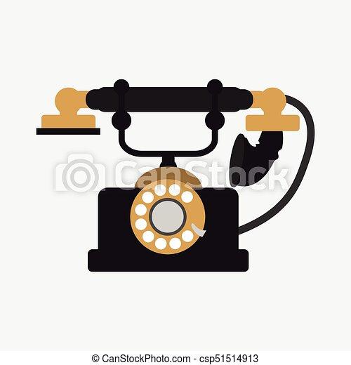 vecteur, téléphone, fond blanc, vendange - csp51514913