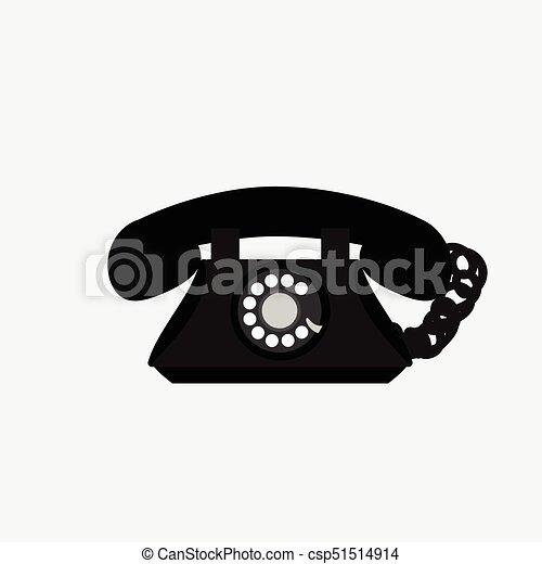 vecteur, téléphone, fond blanc, vendange - csp51514914