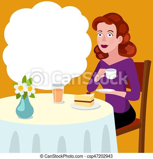 vecteur, table, femme, café, dessin animé - csp47202943