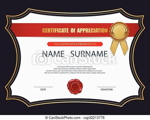 vecteur, template., certificat - csp32213776