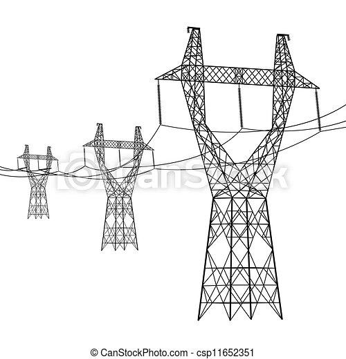 vecteur, tension, silhouette, puissance élevée, lines., illustration. - csp11652351