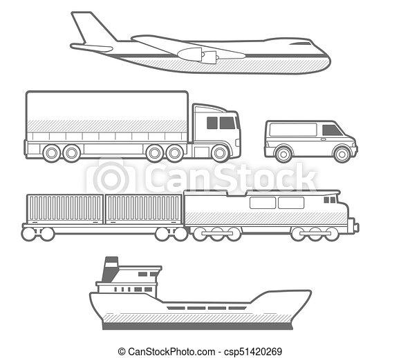 vecteur transport train avion noir voiture camion clip art vectoriel rechercher des. Black Bedroom Furniture Sets. Home Design Ideas