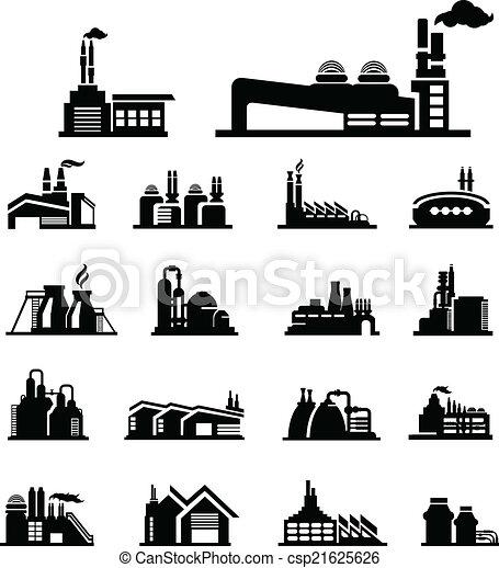 vecteur, usine, icône - csp21625626