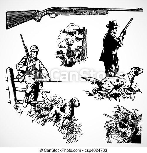 vecteur, vendange, fusils, chasse, graphiques - csp4024783