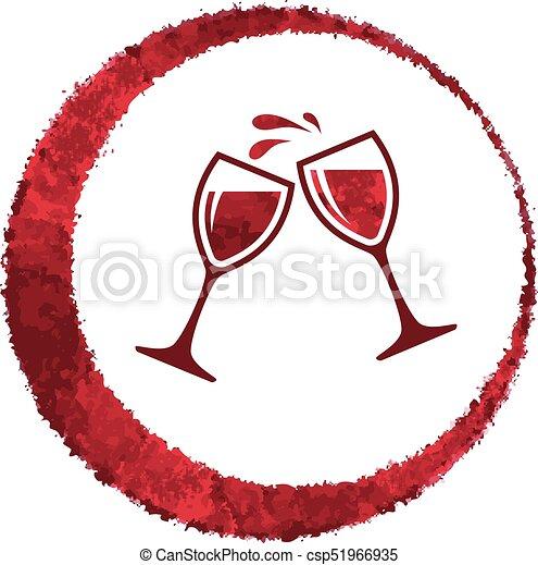 vecteur, verre, éclaboussure, vin rouge