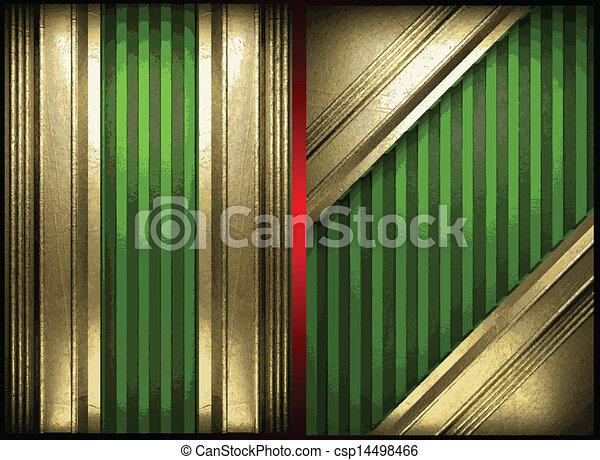 vecteur, vert, or, fond - csp14498466